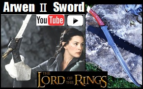 Sword of Arwen II Youtube Video link.  Sword is influenced from Lord of the Rings.  See up close pictures and demonstrations using 