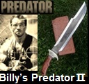 Handmade Billys Predator Knife II.  Influenced by the movie Predator. Picture - Link to more pictures, prices,and detailed descriptions