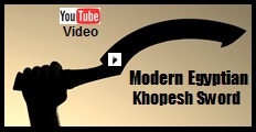 Modern Egyptian Khopesh Sword Video.  See us demonstrate the sword, and history of the sword played to music.